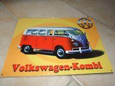 PLAQUE METAL VW COMBI Rouge & Blanc 40*30