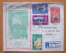 CEYLON NEW CONSTITUTION STAMPS FIRST DAY COVER - 25TH NOVEMBER 1947