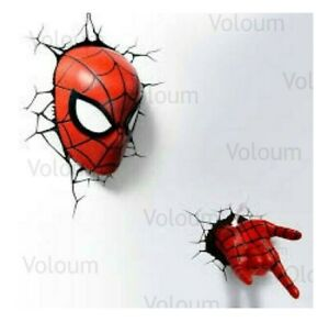 Marvel Avengers Spiderman 3D Hand Or Mask FX Light Wall Deco Night Light Bundle
