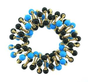 ITALIAN 18k Yellow Gold, Turquoise & Onyx Slinky Scrunchie Statement Bracelet