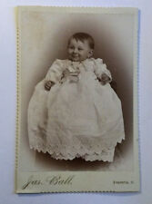 ANTIQUE 1800's Cabinet Card Cute Baby GREAT SMILE Long Gown JAS BALL FOSTORIA OH