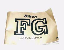 Original Nikon FG 35mm Camera Owner's Manual-Instructions~Good Condition