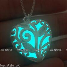 Aqua brillano al buio COLLANA Unique luminescenza LOVE CUORE CIONDOLO regalo per lei Girl