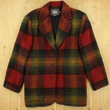 usa made WOOLRICH woman wool blazer jacket coat SMALL plaid vtg thick wool