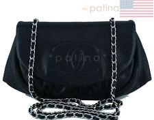 Chanel Black Caviar Half Moon WOC Wallet Chain Purse Bag 62171