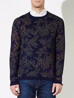 JOHN LEWIS & Co Indigo Leaf Print Crew Neck Jumper BNWT UK SIze M RRP £69