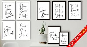 Bathroom Prints Script Style Framed Wall Art Funny Poster Toilet Home Pictures
