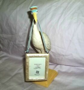 New Russ Delivery Stork With Picture Frame Handpainted New Baby Gift Keepsake