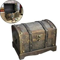Retro Wooden Pirate Treasure Chest Box Jewelry Storage Organizer Trinket Case