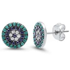 Round Green Emerald, Black & White Cubic Zirconia .925 Sterling Silver Earrings