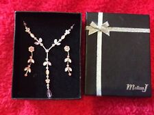 pink and silver coloured necklace & earring set bnib