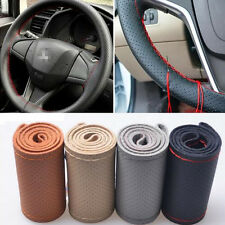 Brown DIY Genuine Cowhide Car Braid Leather Steering Wheel Cover 38 CM Universal