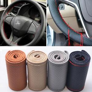 Universal 38 CM Brown DIY Genuine Cowhide Car Braid Leather Steering Wheel Cover