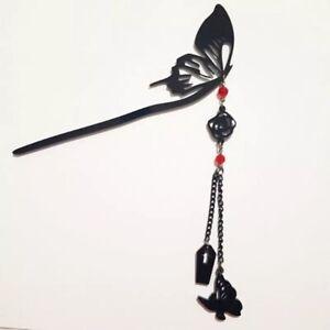 Acrylic Black Butterfly Hair Stick Goth Girl Rebel