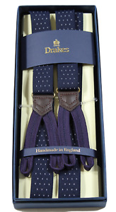 Drake's – Navy Narrow Polka Dot Suspenders, Purple Button-End, Made in England