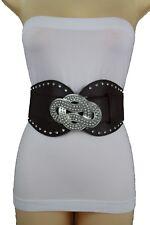 Women Wide Brown Fashion Belt Hip Waist Silver Metal Bling Infinity Buckle S M