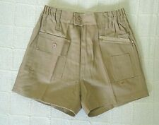 Vintage Boys Shorts - Age 16 Years Approx - Stone Cotton Drill - Zip front - New