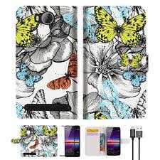 Butterfly Garden Wallet TPU Case Cover For HUAWEI Y3 II 2 -- A018