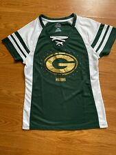 NEW Women's Majestic Green Bay Packers Sparkly Green/White Jersey Top Size M NFL