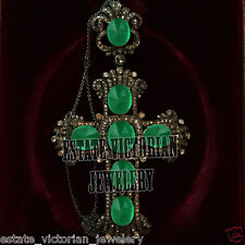 Retro 5.98ct Rose cut Diamond Silver Jewelry Cabochon Emerald Huge Cross Pendant