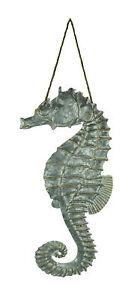 Galvanized Embossed Metal Art Seahorse Wall Decor