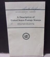 VTG POST OFFICE DEPARTMENT Description of United States Postage Stamps 1847-1936