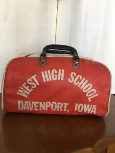 Vtg Retro 70s 80s West High School Zip-Up Tote Gym Bag Old-School Davenport Iowa
