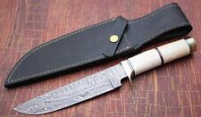 CUSTOM HANDMADE DAMASCUS STEEL BOWIE KNIFE JIGGED CAMEL BONE HANDLE & SHEATH