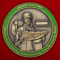 Сhallenge coin. Geocaching lovers. Hoxie, Kansas Geoscouts