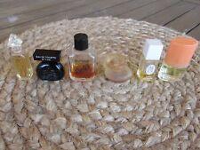 Lot of 6 EMPTY Miniature Glass Perfume BottleS BALAHE, KENZO, YSATIS,POOLE'S,ETC