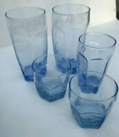 Group of 5 Libbey Chivalry Blue  assorted sizes