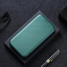 For HTC Desire 21 20 Pro Plus Luxury Flip Carbon Fiber Wallet Card Case Cover