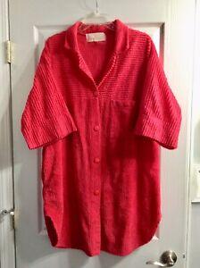Vintage Chenille Bathrobe Stan Herman HERBCRAFT V-neck Short Sleeves Pockets EUC