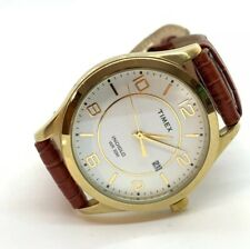 LARGE TIMEX MENS WHITE DIAL GOLD TONE LEATHER BAND TIMEX INDIGLO WR 30M