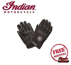 GENUINE INDIAN MOTORCYCLE WOMEN'S MESH 2 LEATHER PALM WARM WEATHER GLOVES BLACK