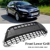 Front Bumper Center Panel Grill Mesh Black Chrome Trim Cover For Ford Fiesta MK7