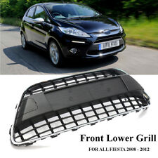 Front Bumper Center Panel Grill Mesh Black Chrome Trim Cover For Ford Fiesta MK7