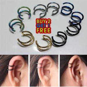 1 Pair Punk Rock Clip-on Earrings Non-piercing  Cuff  Ear Clip UK Seller