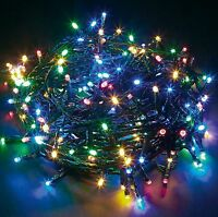 Multi Coloured 100 LED Chaser String Fairy Lights Indoor Outdoor Xmas Christmas