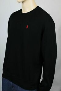 Polo Ralph Lauren Black Cotton Crewneck Sweatshirt Red Pony NWT