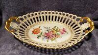Vintage Porcelain Dresden Floral Ovington Bros Gold Trim Basket Handled Bowl BH1