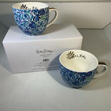 Set of 2 Lilly Pulitzer Ceramic Mugs Blue Floral Coffee Tea Mug Cups 12oz