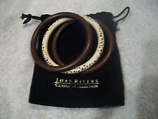 JOAN RIVERS Set of 3 Fun Bangle Bracelets Brown & Animal Print New Great Gift