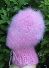 Mohair Balaclava Balaklava fuzzy thick langhaarig Schlüpfmütze rosa geschlossen