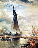 Statue of Liberty unveiled by Edward Moran. History Repro choose Canvas or Paper