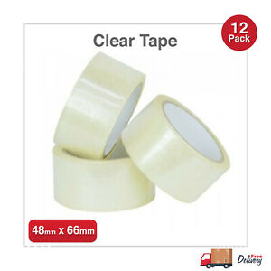 12 ROLLS - PARCEL TAPE PACKING STRONG PACKAGING SEALING LONG CLEAR 48MM X 66M