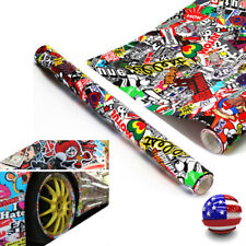 "60""x20"" JDM PANDA CARTOON GRAFFITI CAR STICKER BOMB WRAP SHEET DECAL VINYL AU"