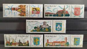 LI*  5 Sellos de POLONIA. Serie tematica turismo. año 1970. Yvert 1851/1854