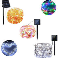 Outdoor Solar Power 100/200LED Copper Wire Light String Fairy Xmas Party 10M/22M
