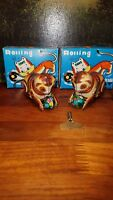 """2 Collectible Tin litho Wind-Up Toy - Rolling Cat""""Blic"""" with key and Box"""